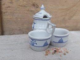 Blauw Saks menagesetje  (Mosterd, peper en zout setje)