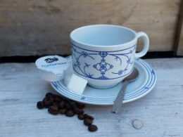 Koffiekopje, kop en schotel, kunststof Blau Saks