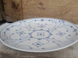 Blauw Saks vlaaischotel gebakschaal taartschaal Bavaria Moschendorf