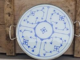 Blauw Saks gebakschaal dienblad vlaaischotel taartschaal