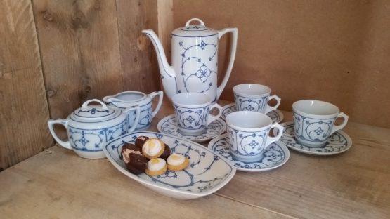 Complete koffie set Blau Saks voor 37.95 euro
