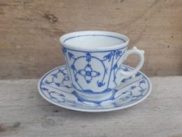 Koffiekopje, kop en schotel  Blau Saks Oscar Schaller Bavaria