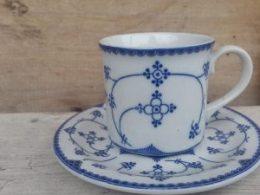 Koffiekopje, kop en schotel Blau Saks Indian blue