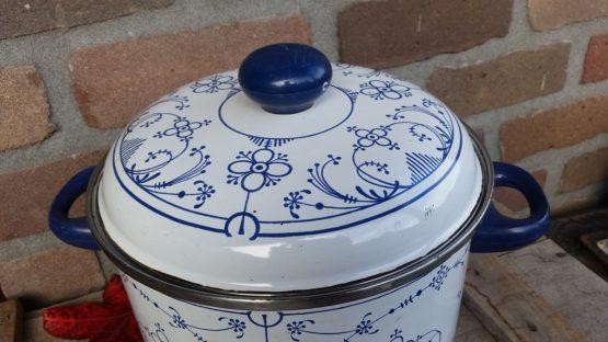 Kookpan- soepketel, blauw saks  groot model
