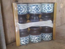 Eierdopjes , eierbecher, blauw saks geschenkverpakking