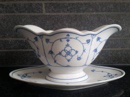 Sierlijke blau saks Winterling sauciere, juskom geschulpt