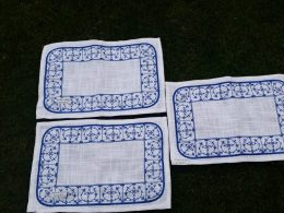 Stoffen placemats, onderleggers Blauw saks