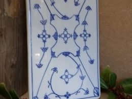 Antiek kaasplankje, snijplankje blauw saks