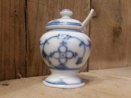 Antiek mosterdpotje blauw saks