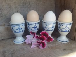 Blau saks eierdoppen, eierdopjes, setje van 4 stuks antiek