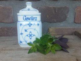 Blauw saks antiek kruidenpotje, met tekst Gewurz