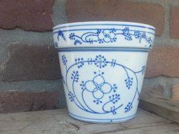 Blauw saks porseleinen bloempot
