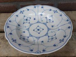 Blauw saks antieke geschulpte borden, soepborden