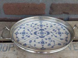 Dienblad met tinnen bewerkte rand Blauw saks porselein