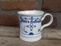 Blau saks beker koffiebeker, Met tekst: Mutti's kaffeepott