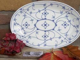 Blau saks porseleinen serveerschaal vleesschaal Form Marienbad Ingres weiss