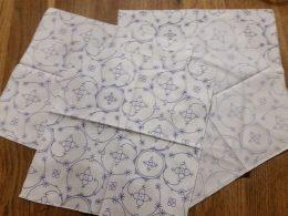 Set van 4 servetten katoen 27 cm x 30 cm  blauw saks