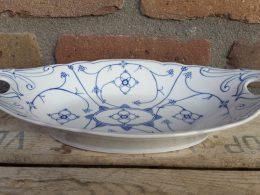 Blauw saks broodschaal/ fruitschaal geschulpt