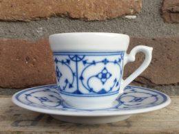 Blauw saks kop en schotel espresso Indisch blau Kronester
