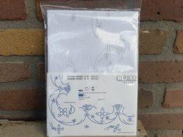 Blauw saks borduurpakket, zelf borduren tafelkleed