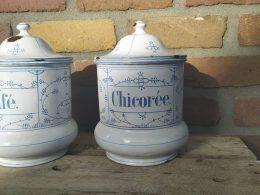 Blauw saks voorraadpotten set van 2 stuks   chicoree en cafe