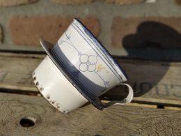 Blauw saks emaille houder voor koffiefilters voor koffiekan
