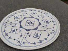 Blauw saks gebakschaal, gebakschotel diameter 32.5 cm