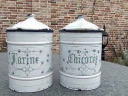 Blauw saks voorraadbussen emaille Farine en Chicoree ( set van 2 stuks)
