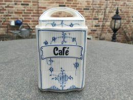 Blauw saks voorraadpot cafe