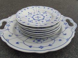 Complete 7delige gebakset blauw saks Oscar Schaller Geschulpt