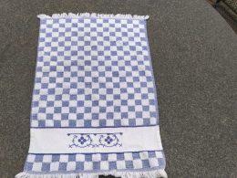Blauw saks geborduurde handdoek katoen