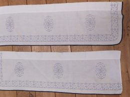 Blauw saks katoenen gordijn, gordijntje 92 cm x 29 cm