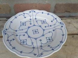Blauw saks geschulpt serveerbord, serveerschaal Winterling