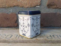 Blau saks blikje, theeblikje voor losse thee/ theezakjes