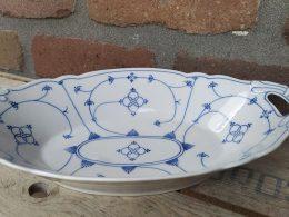 Broodschaal / fruitschaal geschulpt blauw saks