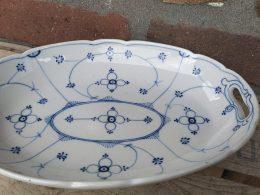 Blauw saks antieke fruitschaal/ serveerschaal