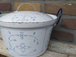 blauw saks emaille kookpan, grote pan
