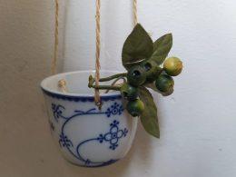 Blauw saks bloempotje hangpotje Indian Blue
